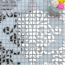 Silver glass mosaic tile wall murals backsplash plated crystal patterns for showers designs TMF058 puzzle tiles for kitchen and bathroom