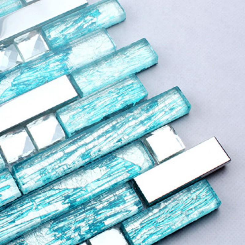 steel backsplash blue glass mosaic tiles kitchen back splash cheap ...