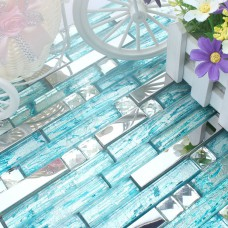 Cyan-Blue Glass Mixed Silver Stainless Steel Tile Diamond-Shaped Crystal Backsplash for Kitchens and Bathrooms