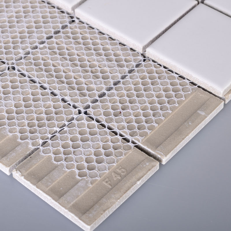 glazed porcelain tile deco mesh kitchen back splash white ceramic floor tiles hb656 48mm mosaic brick