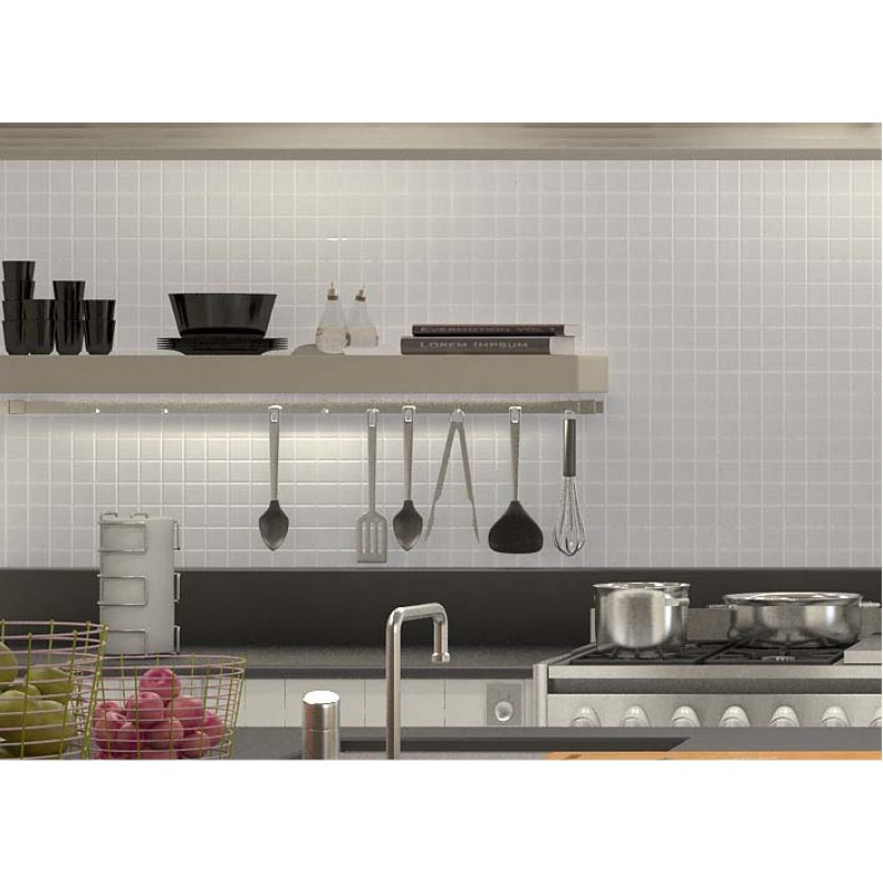 Glazed Porcelain Tile Deco Mesh Kitchen Back Splash White