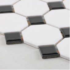 Glazed porcelain mosaic octagonal & dot black and white ceramic tile stickers kitchen backsplash tiles bathroom floor designs GPT680