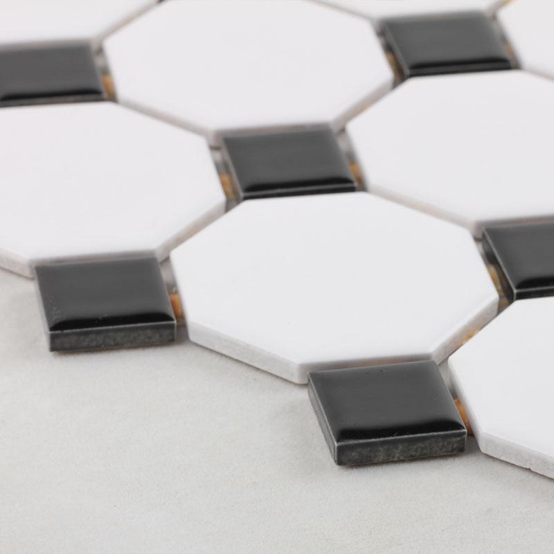 Glazed Porcelain Mosaic Octagonal Dot Black And White Ceramic