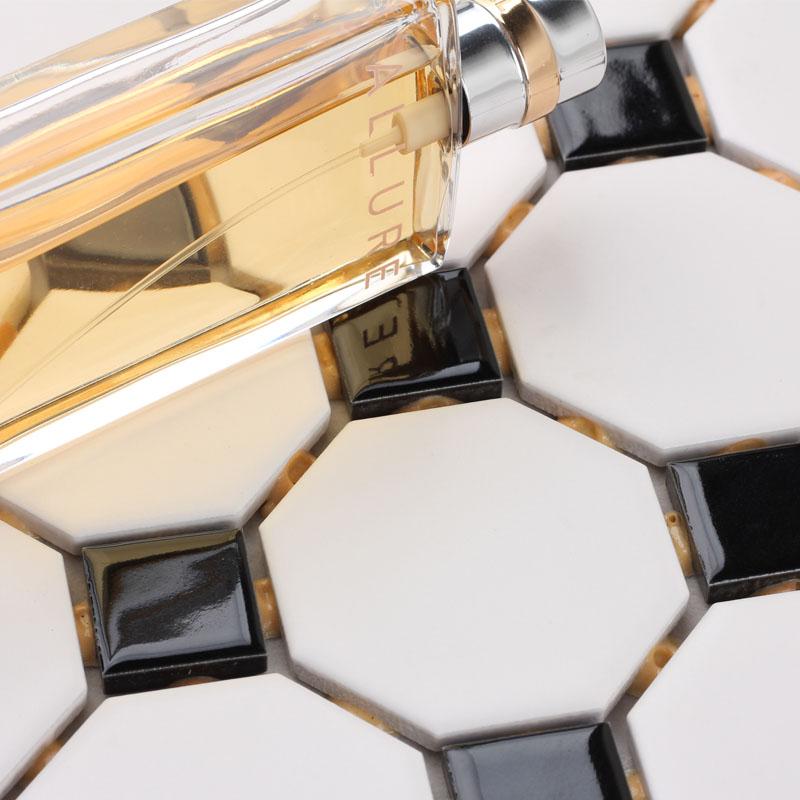 Glazed Porcelain Mosaic Octagonal Dot Black And White Ceramic Tile