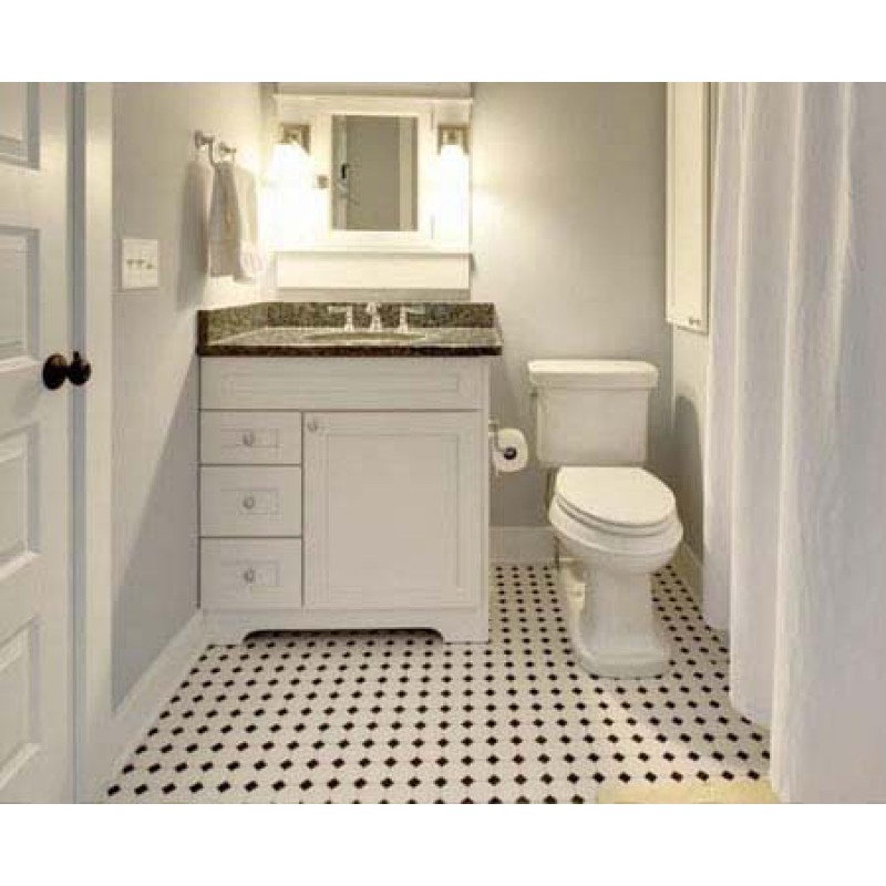 Glazed Porcelain Mosaic Octagonal Amp Dot Black And White