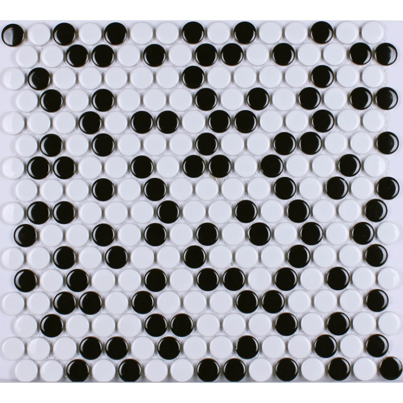 Kitchen Porcelain Tile Penny Round Mosaic Ceramic Tiles Black