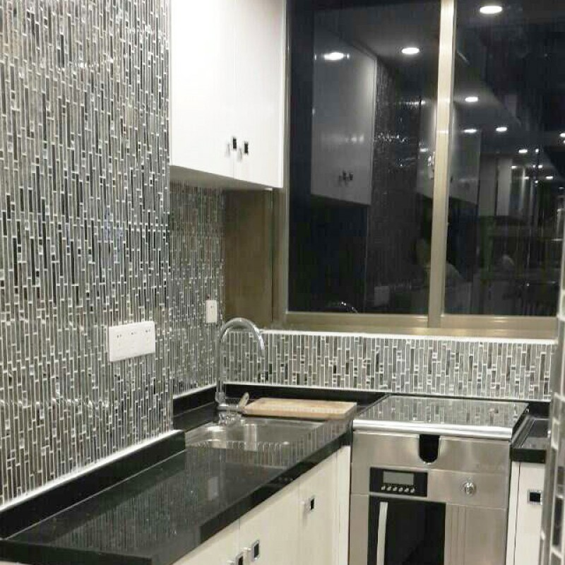 ... Glass and metal tile backsplash ideas bathroom stainless steel mosaic  tiles kitchen wall design patterns crystal ...
