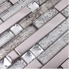 Glass and metal tile backsplash ideas bathroom stainless steel mosaic tiles kitchen wall design patterns crystal glass diamond tile MGT119