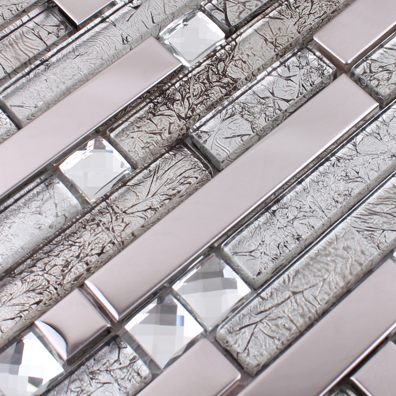 Sample Stainless Steel Metal Pattern Mosaic Tile Kitchen: Glass And Metal Tile Backsplash Ideas Bathroom Stainless