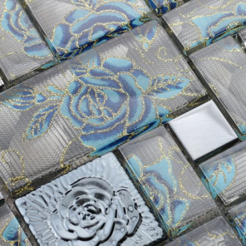 Crystal Glass Tile Wall rose pattern Mosaic art 304 Stainless Steel & Glass blend discount Metal Backsplash flooring HC-137