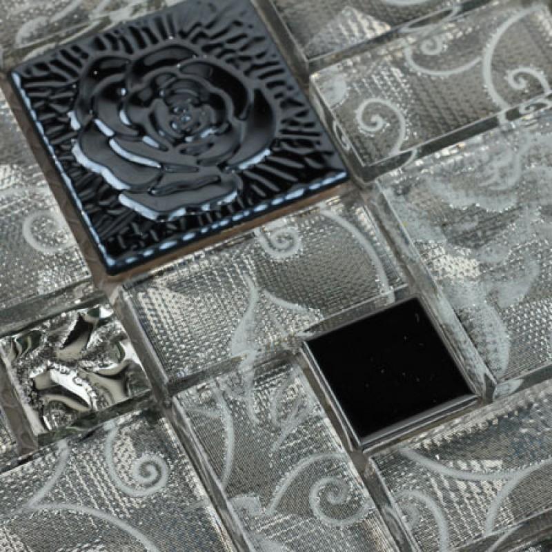 stainless steel wall tiles sheet grey rose patterns art metal