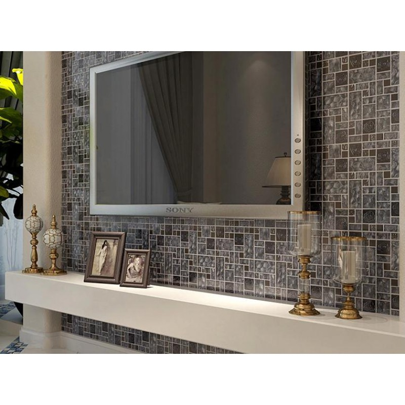 Stainless Steel Pattern Gray Glass Mosaic Tile: Stainless Steel Wall Tiles Sheet Grey Rose Patterns Art