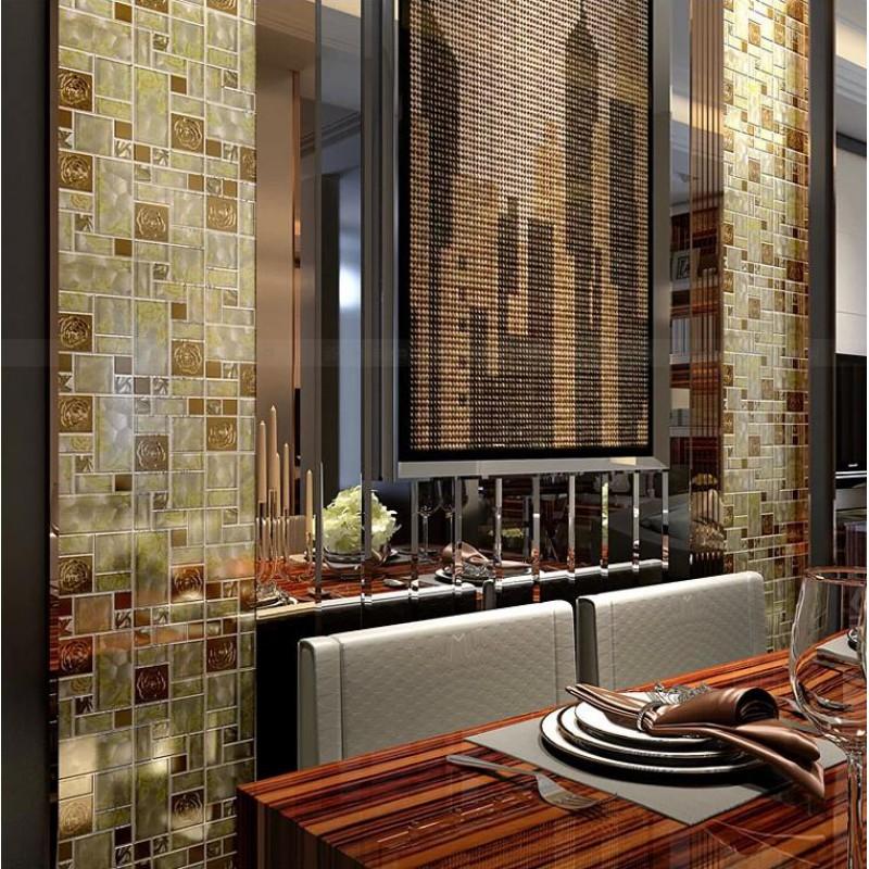 Yellow Mosaic Tile Backsplash: Metallic Mosaic Tile Backsplash Ideas Yellow HC-141