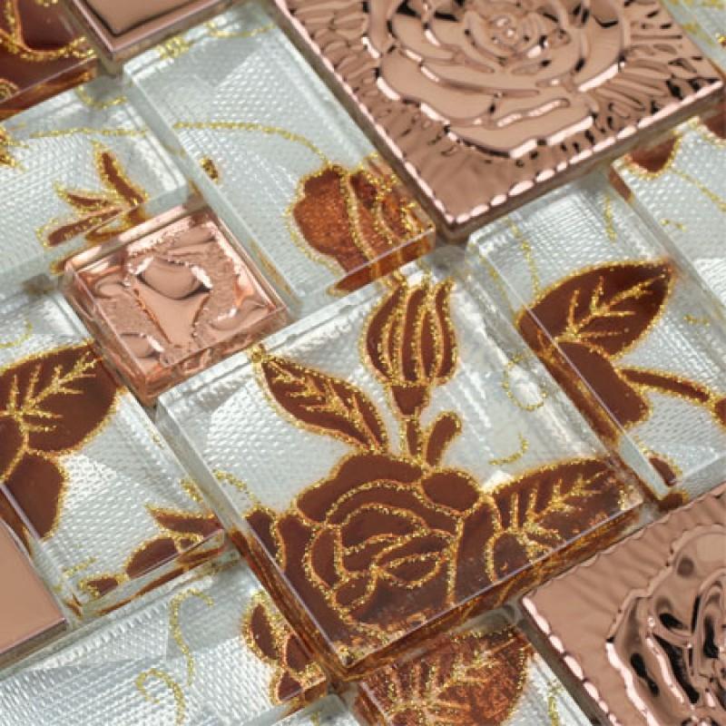 Metallic Mosaic Tile Sheet Copper Rose Pattern Mosaic Hc