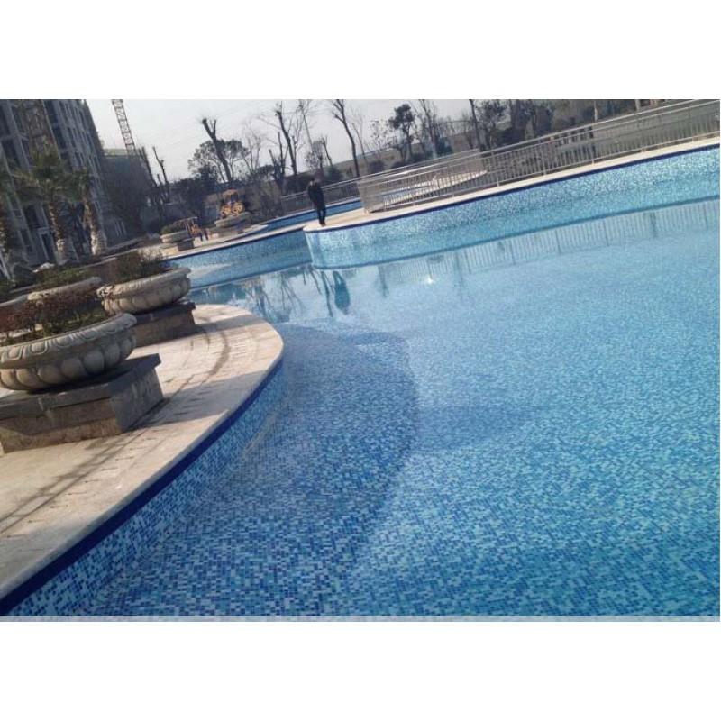 Glazed Pool Tile : Vitreous glass mosaic wall tiles blue crystal