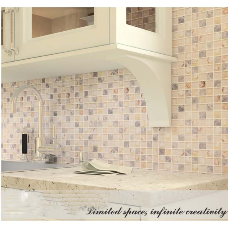 Glass stone mosaic tiles sheet wall designs crystal resin with ...