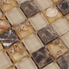 Glass stone mosaic tiles sheet wall designs crystal resin with conch tile patterns kitchen backsplash cheap marble floor tiles GCT099