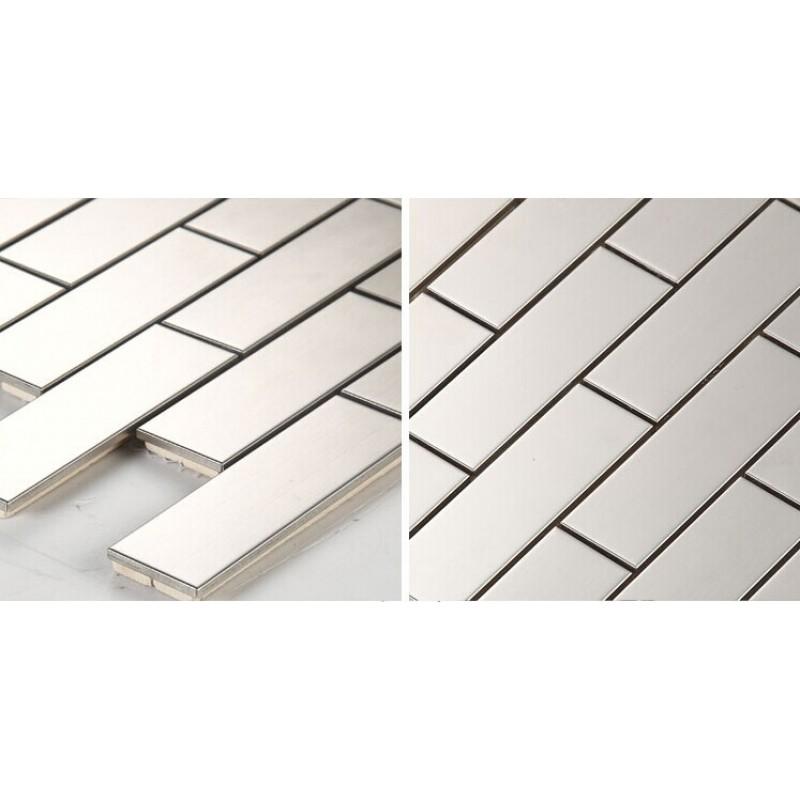 Metallic Mosaic Subway Tile Grey Metal Kitchen Wall Tiles Hc1 Stainless Steel Backsplash Porcelain Base Bathroom Tile Shower