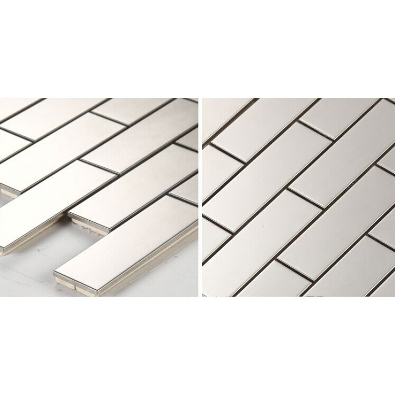 Stainless Steel Backsplash Cheap Bathroom Wall Tiles Rectangle Kitchen Back  Splash Shower Floor Mirror Sticker HC1 Silver Metal ...