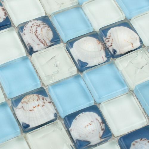 Crystal Glass Tile Backsplash Sea Blue Shell Tiles Mosaic Tile Pattern Crack Tiles Floor Sticker Kitchen and TV Wall Design