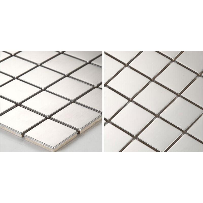 Stainless Steel Backsplash Cheap Square Tile Kitchen Back Splash Silver Metal Mosaic Sheets Hc3