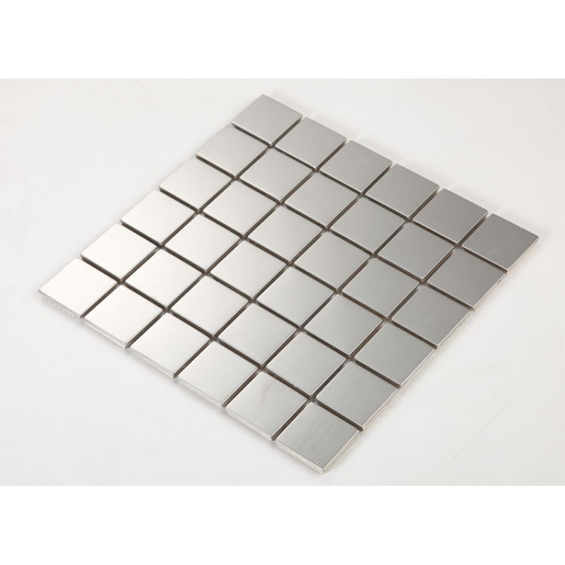 Stainless Steel Backsplash Cheap Square Tile Kitchen Back Splash Silver Metal Mosaic Sheets Hc3