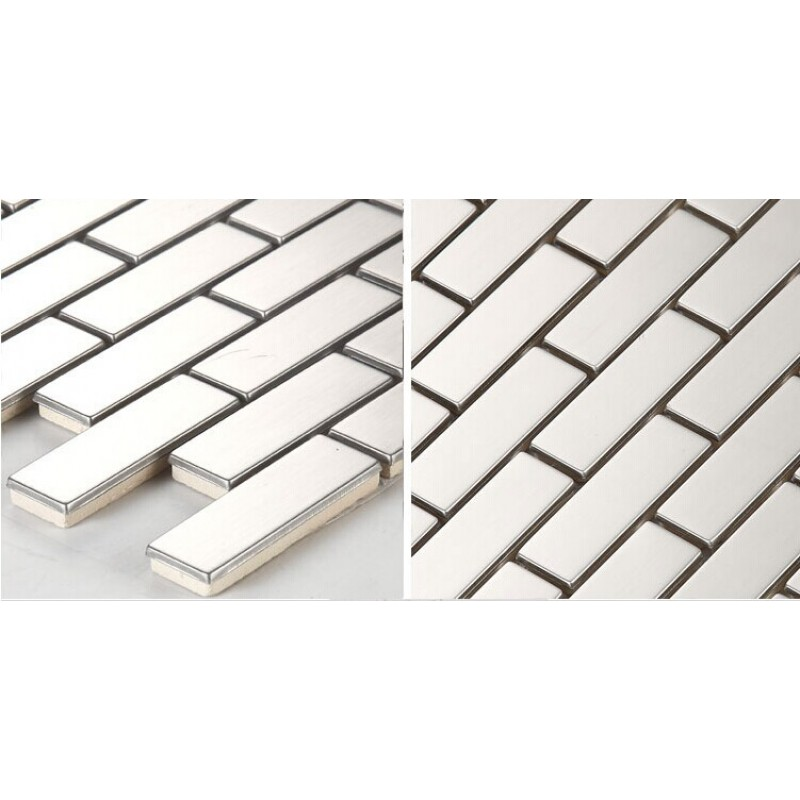 stainless steel backsplash cheap rectangle kitchen back splash silver metal mosaic subway sheets. Black Bedroom Furniture Sets. Home Design Ideas