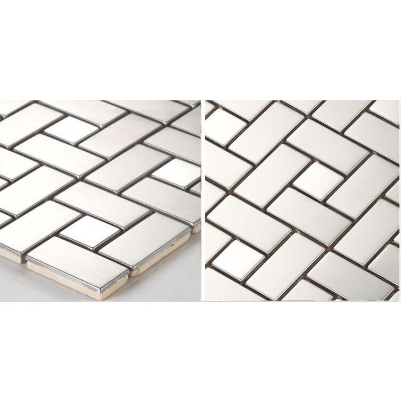 Stainless Steel Backsplash With Porcelain Base Grey Metal Kitchen Wall Tiles  HC4 Metallic Mosaic Bathroom Tile Shower Designs