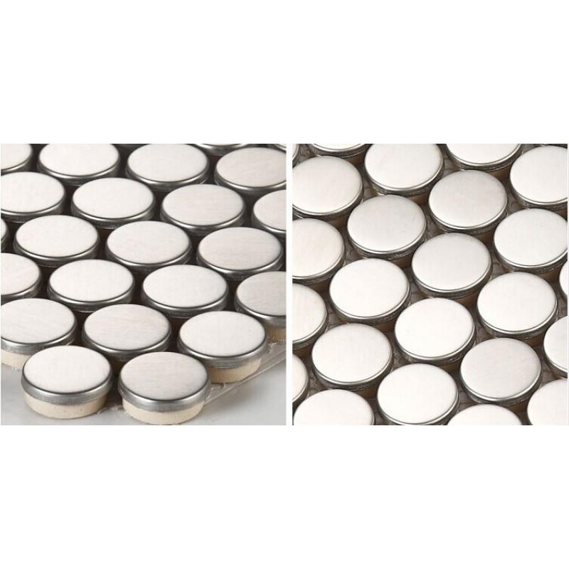 Stainless Steel Backsplash Porcelain Base Grey Metal Kitchen Wall Tiles Hc5 Penny Round Metallic Mosaic Bathroom Tile Shower