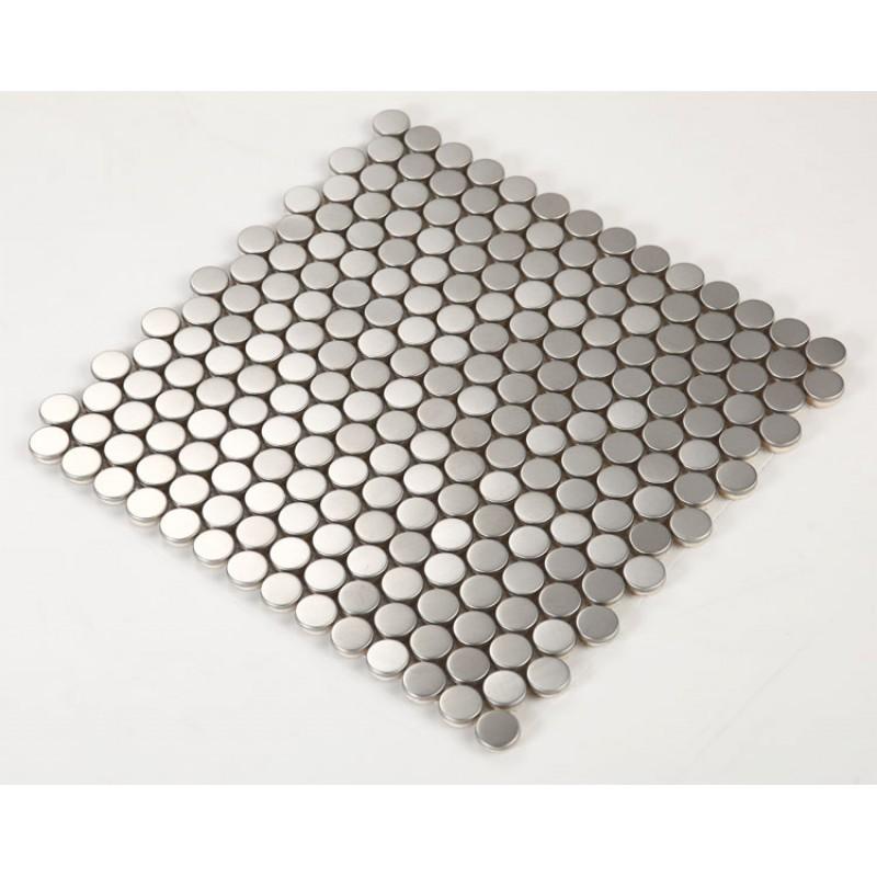 Stainless Steel Backsplash Penny Round Tile Modern Fashion Kitchen Back Splash Silver Metal Mosaic Sheet Hc5