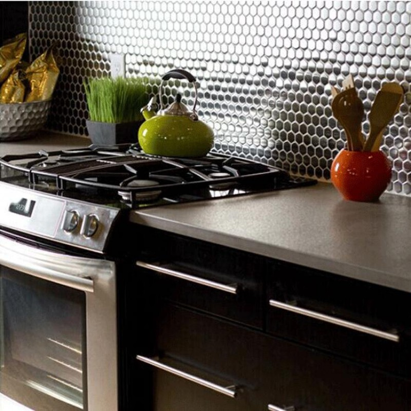 Stainless Steel Backsplash Porcelain Base Grey Metal Kitchen Wall Tiles Hc5 Penny Round Metallic