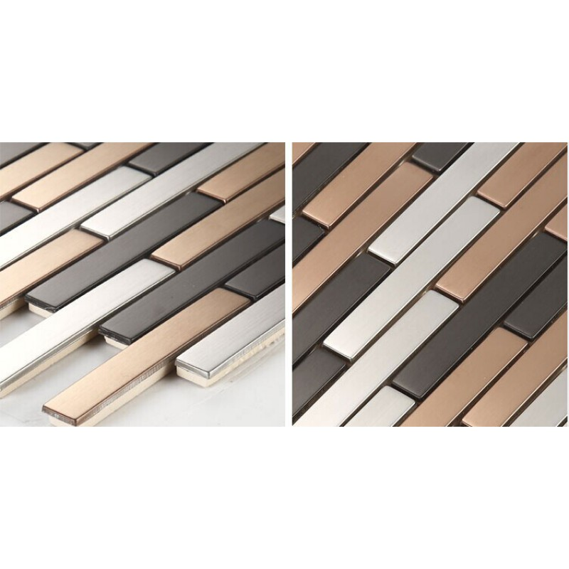 Stainless Steel Backsplash Subway Tile Modern Fashion Kitchen Back Splash Metal Mosaic Sheet Hc6