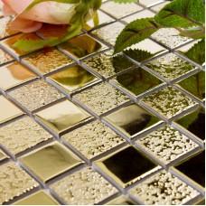 "Gold porcelain tile square 1"" glaze ceramic mosaic plating craftsman kitchen backsplash mirror wall tiles GPT062"