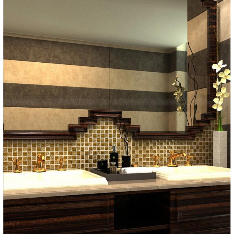 Gold Porcelain Tile Square 1 Glaze Ceramic Mosaic Plating Craftsman Kitchen Backsplash Mirror Wall Tiles