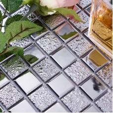 glazed porcelain mosaic wall tile backsplash silver ceramic tiles for bathroom floor mirror tile HD-063 Kitchen backsplash tiles