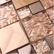 Crystal Glass Tile Sheet Square Diamond Mosaic Design Art Stainless Steel & Glass Blend Metal Backsplash Wall Sticker  HD-280