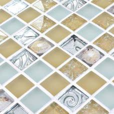 White Glass Mosaic Wall Tiles melted Shell frosted Crystal Backsplash Kitchen designs crackle Glass Tile Floor  stickers HM0002