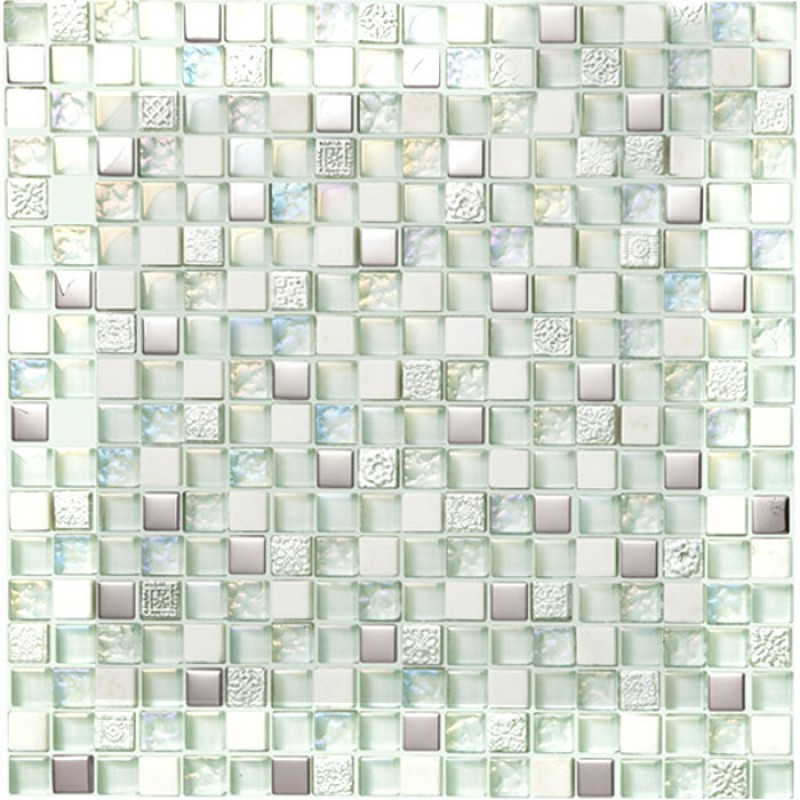 Gl Stone Mosaic Tile Silver Metal Coating Crystal Cream White Wall Tiles Iridescent Mosaics Hm0007