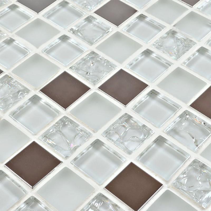 Crystal glass mosaic tile backsplash wall tiles frosted - Frosted glass backsplash ...