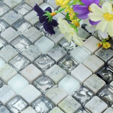 glass stone mosaic tile backsplash kitchen wall white cloud bathroom floor tiles sticker HM15 decor mesh pattern designs crystal glass mosaics