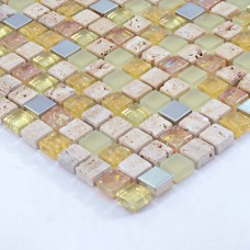 Glass Mosaic Tiles Crystal Glass mixed Stone Mosaic Tile brushed Stainless Steel Metal with Porcelain Base Wall Tile HS0002