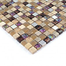 Crystal glass tile backsplash stone and metal blend glass mosaic tile HS0003 iridescent bathroom tile stainless steel wall tiles