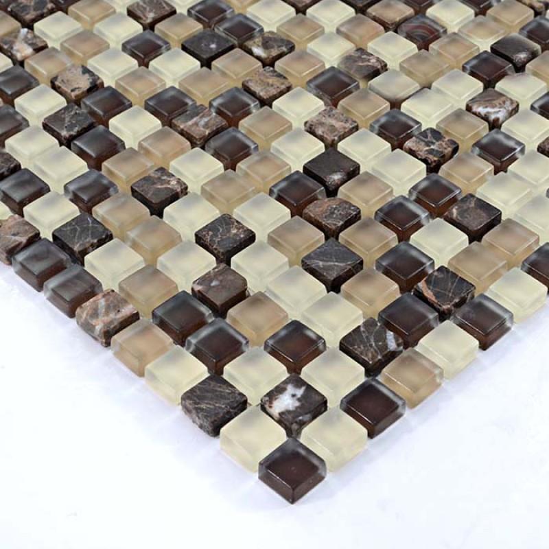 Brown Gl Mosaic Tiles Emperador Stone Marble Tile Crystal Backsplash Wall Stickers Mix Mosaics Hs0004