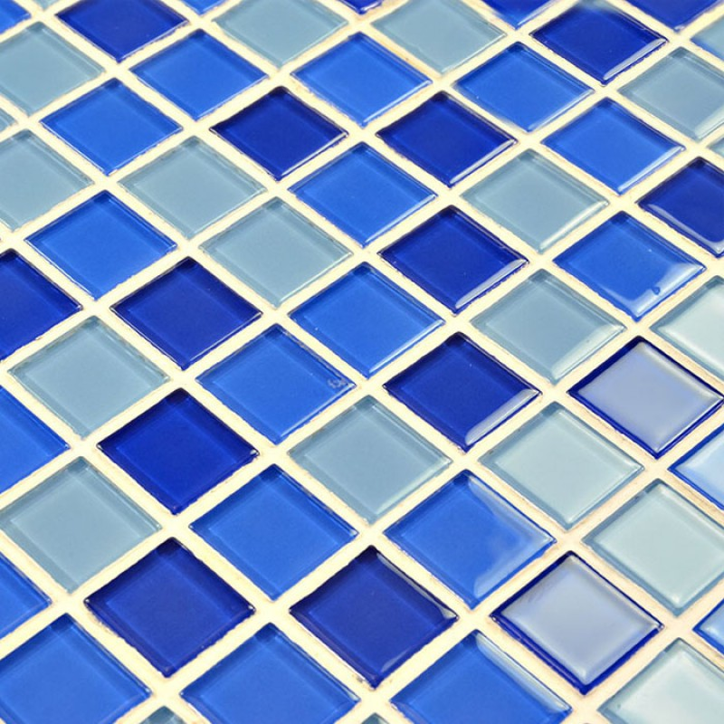 Glass mosaic tile sheets blue crystal glass swimming pool for Swimming pool wall tiles