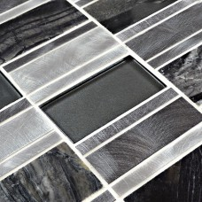 Stone Glass Mosaic Tile patterns Metal Crystal Glass Tile Kitchen Backsplash Tiles Marble designs Metallic Mosaic Tile HX3001