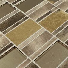 Stone Glass Mosaic Tile patterns Metal Crystal Glass Tile Kitchen Backsplash Tiles Marble Stainless steel Mosaic Tile HX3003