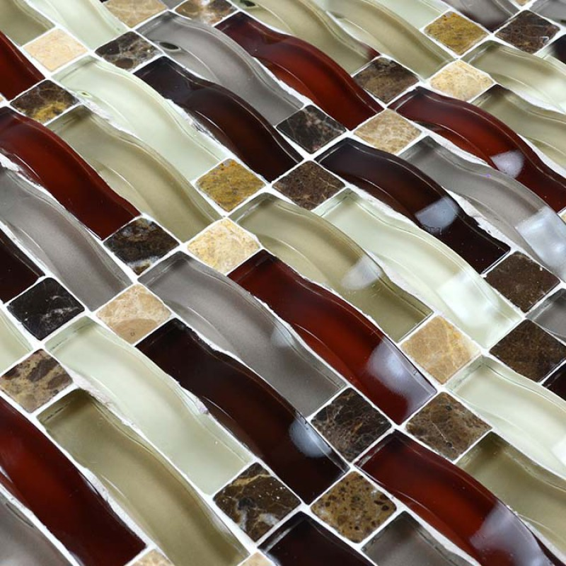 Stone Glass Mosaic Tile Interlocking Crystal Glass Tile Kitchen Backsplash Tiles Arch Tile Bathroom Wall Stickers Hx3004
