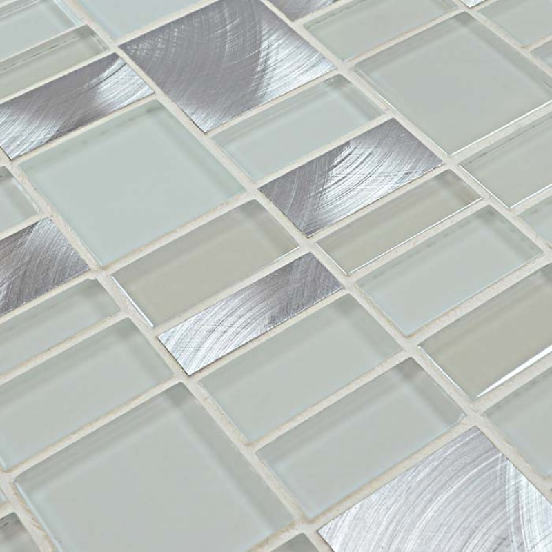 Metal Glass Mosaic Tile Sheets Crystal Glass Tile Kitchen Backsplash Tiles Metallic Mosaics