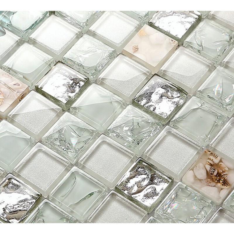 Crystal Glass Tiles Aqua Backsplash Tile Silver Conch Mosaic Crackle Glass Mo