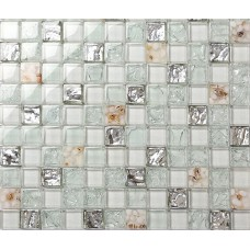 Backsplash tiles for kitchen and bathroom glossy glass mosaics 8mm cheap mosaic sheets shower wall tile crystal resin with conch GCHY05